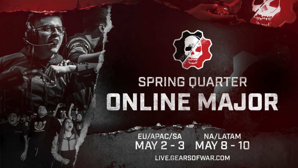 stylised red, black and grey image with the words 'Spring Quarter Online Major' and dates May 2-3 and May 8-10