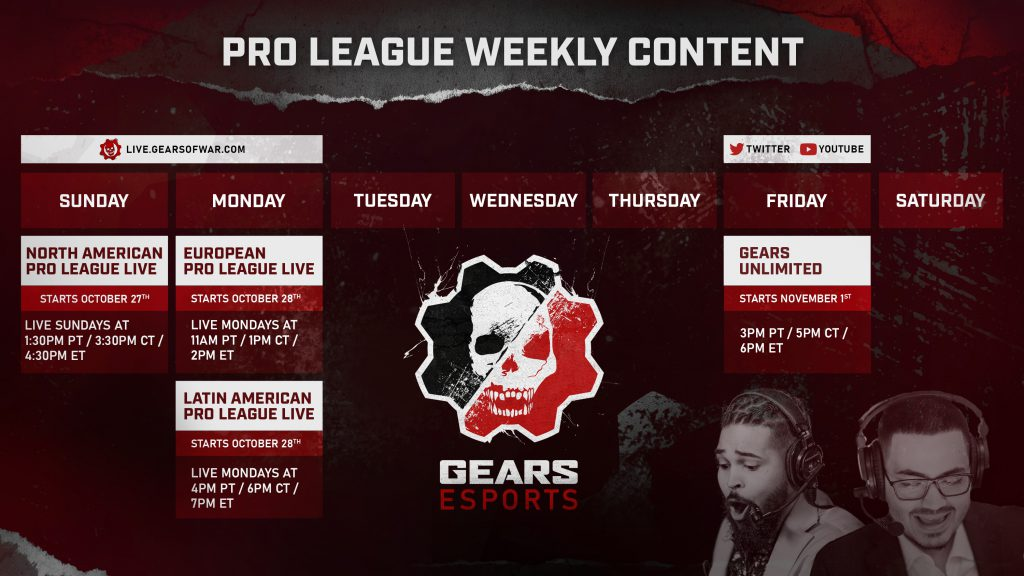 An Overview of the Pro League's Weekly Content Schedule. Image contains text pertaining to the different days of the week and the live broadcast schedule on key days