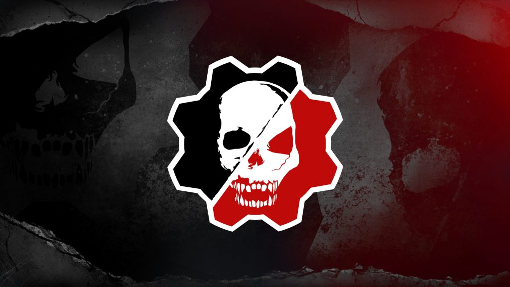 A gritty red and black background with the Gears Esports logo in the foreground