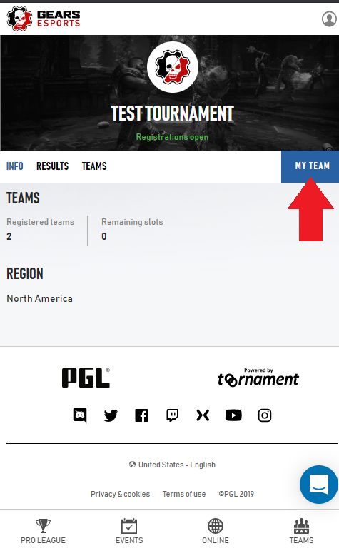 Screenshot of play.gears.gg indicating the 'My Team' section