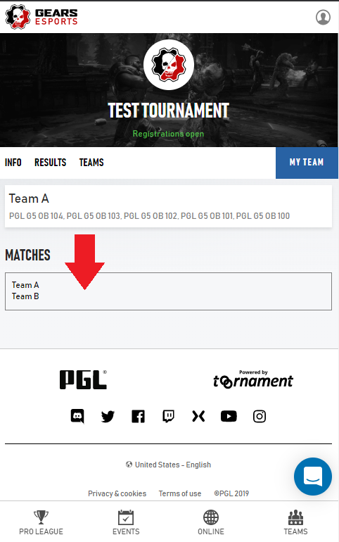 Screenshot of play.gears.gg indicating the Matches section