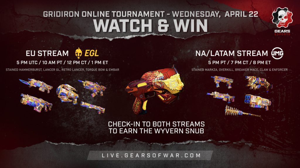 Watch & Win asset featuring Stained and Wyvern weapon skins.