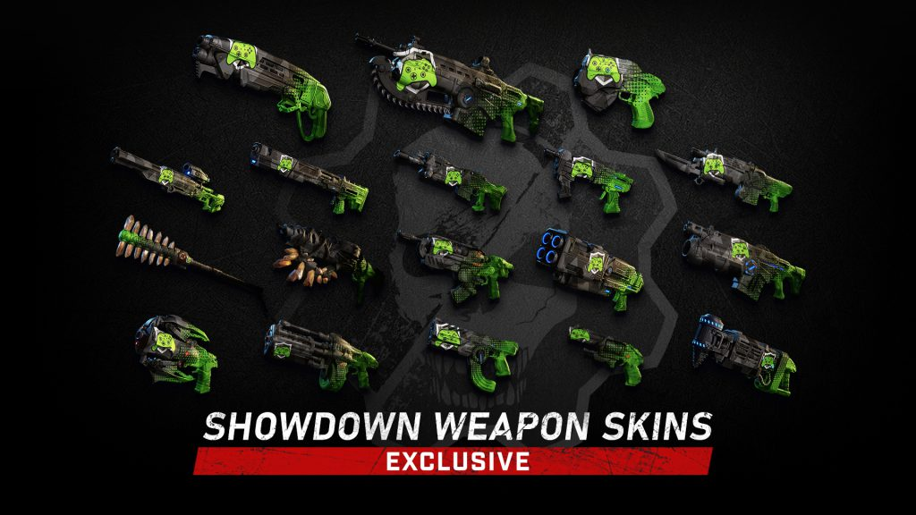 Image showcases all 18 Showdown weapon skins.