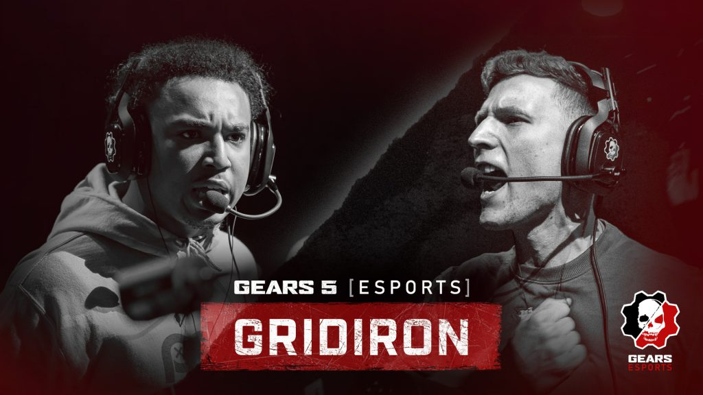 Two players face off in black and white. The title says 'Gears 5 Esports Gridiron'