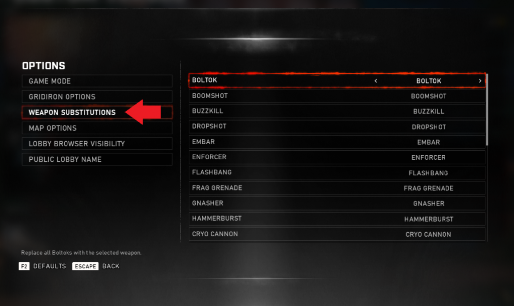 Screenshot of game lobby indicating 'weapon substitutions'