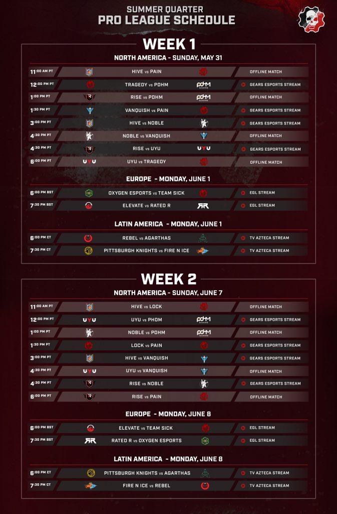 Summer Quarter Pro League - Week 1 & 2 schedule for NA, EU and LATAM