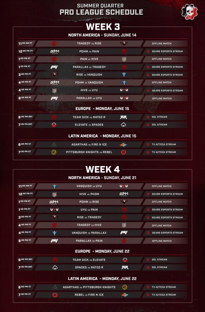 Summer Quarter Pro League - Week 3 & 4 schedule for NA, EU and LATAM