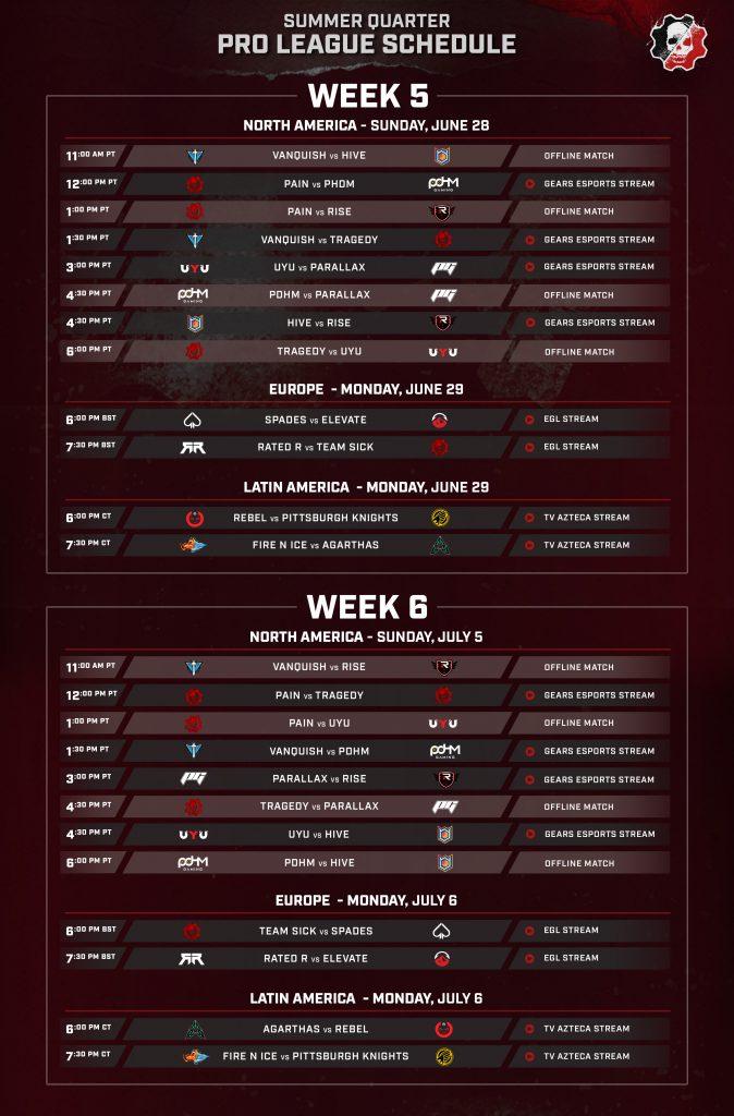Summer Quarter Pro League - Week 5 & 6 schedule for NA, EU and LATAM