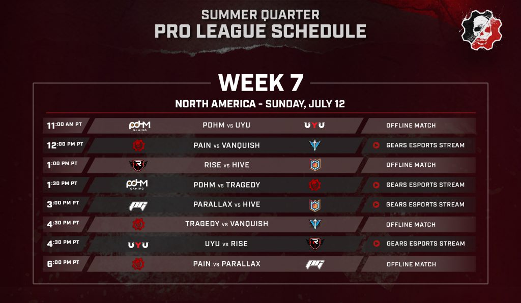 Summer Quarter Pro League - Week 7 schedule for NA