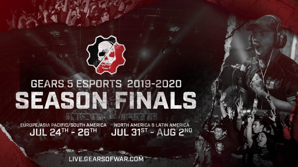 stylised red, black and grey image with the words 'Gears 5 Esports 2019-2020 Season Finals' and dates July 24-26 and July 31-August 2