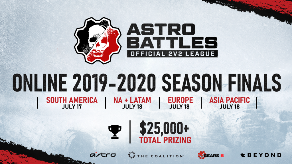 ASTRO Battles 2v2 image announcing the tournament dates for the final tournaments: South America, July 17; North and Latin America, July 18; Europe, July 18, and; Asia Pacific, July 18. The image also states there's more than $25,000 in total prizing.