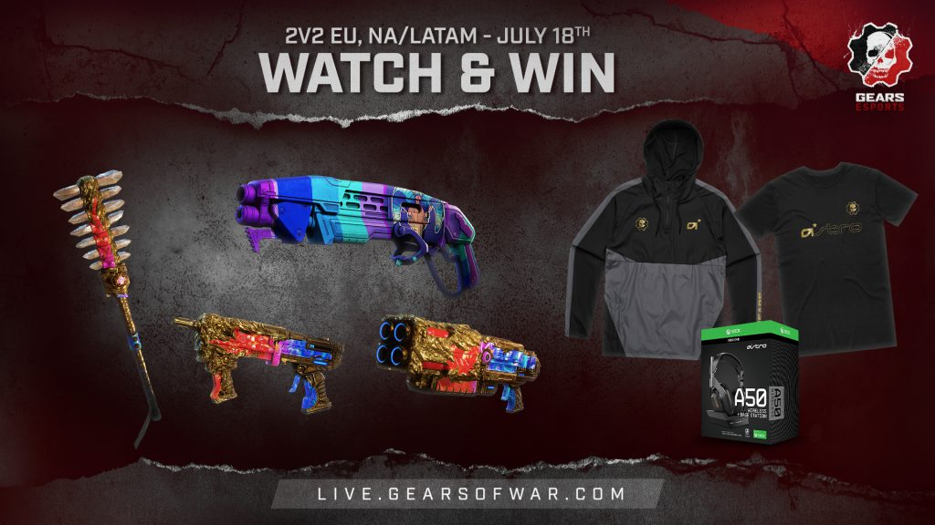 Title reads: 2v2 EU, NA/LATAM Watch and Win - July 18th, body includes images of a Glory Mace, Goat Gnasher, Glory Enforcer and Glory Overkill, plus an Astro hoodie, t-shirt and pair of A50 headphones.