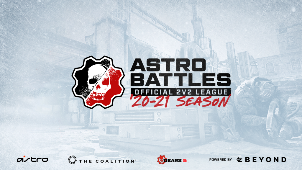 Primarily white image with Astro Battles Official 2v2 League 20-21 Season written on it, and branding for Astro, Coalition, Gears 5 and Beyond on the bottom.