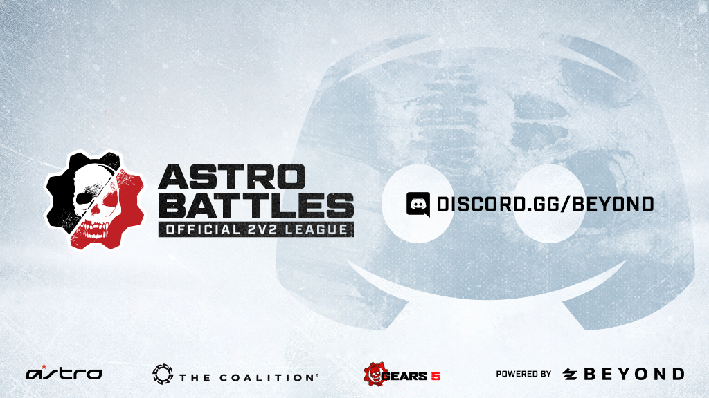 "Image showing Astro Battles with the Discord channel ""Discord.gg/Beyond"" highlighted to the side, and; Astro, The Coalition, Gears 5 and Beyond branding on the bottom."