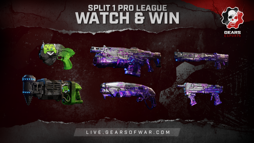 Image showing Split 1 Pro League Watch & Win rewards, including the Showdown Snub, Showdown Dropshot, Bedazzled Lancer GL, Bedazzled Gnasher, Bedazzled EMBAR and Bedazzled Enforcer