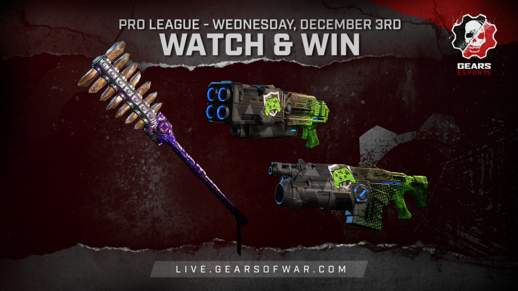 Image showing the Watch & Win Rewards for December 3rd, which are the Bedazzled Axe and Showdown Overkill, Lancer GL