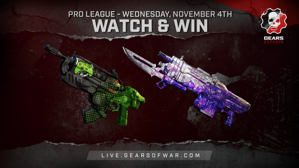 Image showing the Watch & Win Rewards for November 4th, which are the Bedazzled Retro Lancer and Showdown Hammerburst