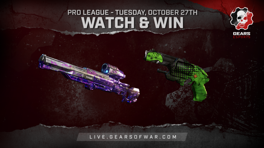 Image showing the Watch & Win Rewards for October 27th, which are the Bedazzled Longshot and Showdown Boltok