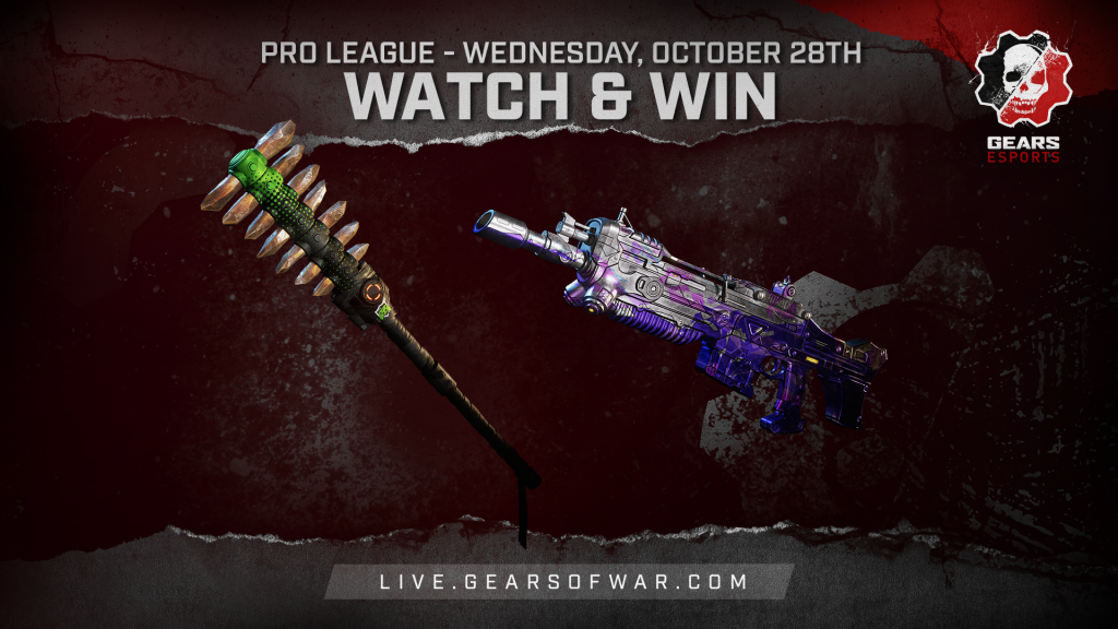 Image showing the Watch & Win Rewards for October 28th, which are the Bedazzled Markza and Showdown Axe