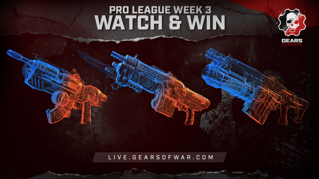 Image showing the Week 3 items of the Split 2 Phase 1 Gears Pro League Watch & Win which are the Hammerburst, Retro Lancer, and Lancer GL
