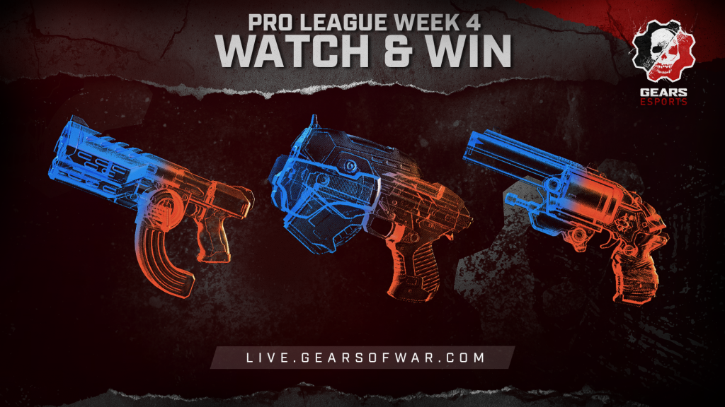 Image showing the Week 4 items of the Split 2 Phase 1 Gears Pro League Watch & Win which are the Talon, Boltok, and snub