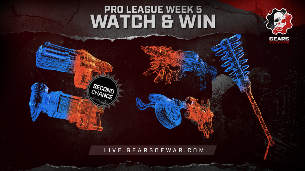 Image showing the Week 5 items of the Split 2 Phase 1 Gears Pro League Watch & Win which are the Claw, Mace, Scorcher and 2nd Chance Boomshot and Dropshot