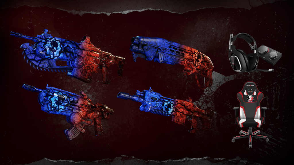 Image showing the Team Syndrome Lancer, Gnasher, Hammerburst, Markza, and giveaway items from ASTRO and DX Racer